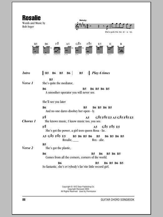 Download Bob Seger Rosalie sheet music and printable PDF score & Rock music notes