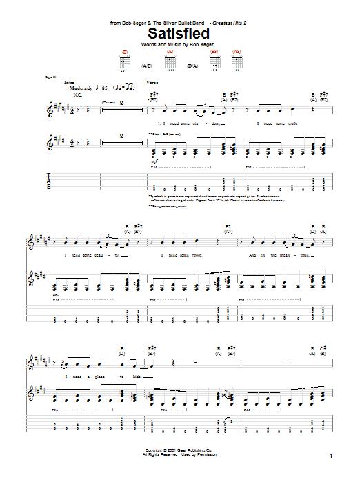Download Bob Seger Satisfied sheet music and printable PDF score & Rock music notes