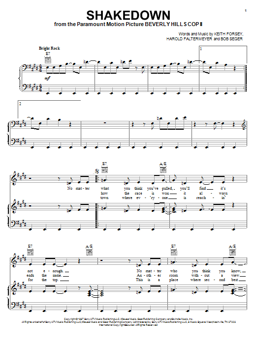 Download Bob Seger Shakedown sheet music and printable PDF score & Pop music notes