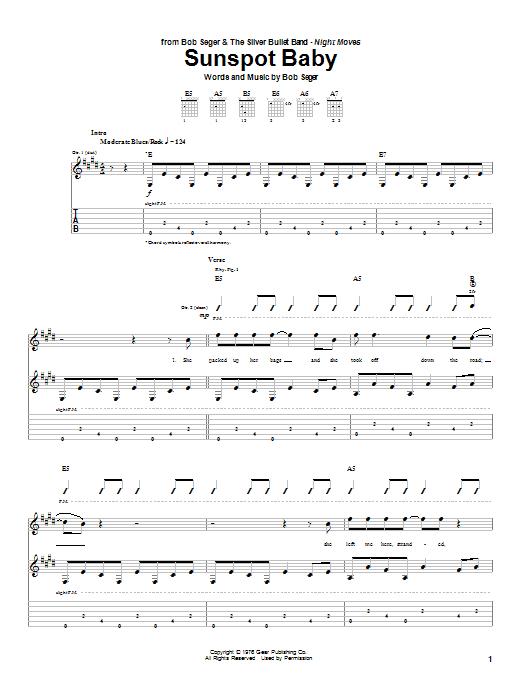 Download Bob Seger Sunspot Baby sheet music and printable PDF score & Rock music notes