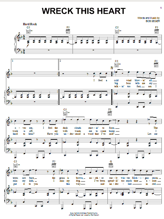 Download Bob Seger Wreck This Heart sheet music and printable PDF score & Rock music notes