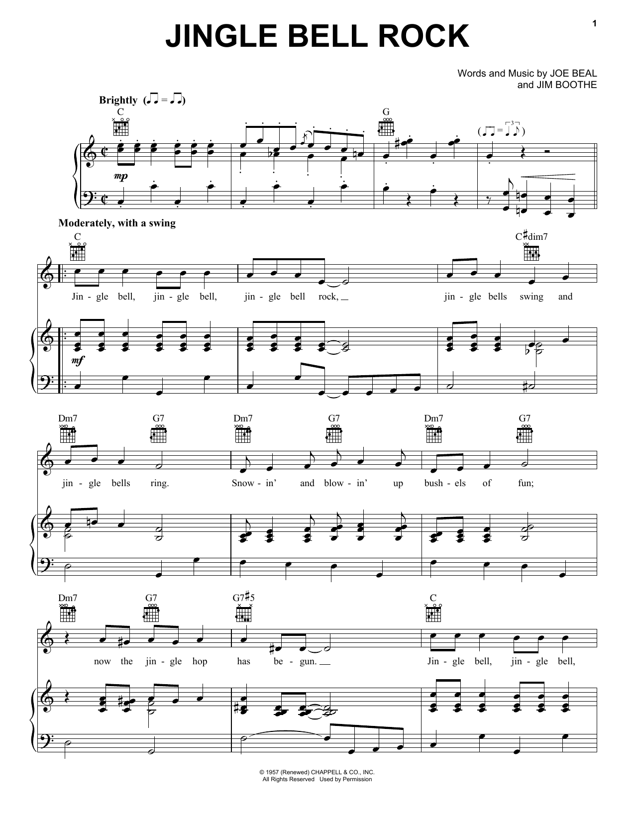 Download Bobby Helms Jingle-Bell Rock sheet music and printable PDF score & Pop music notes