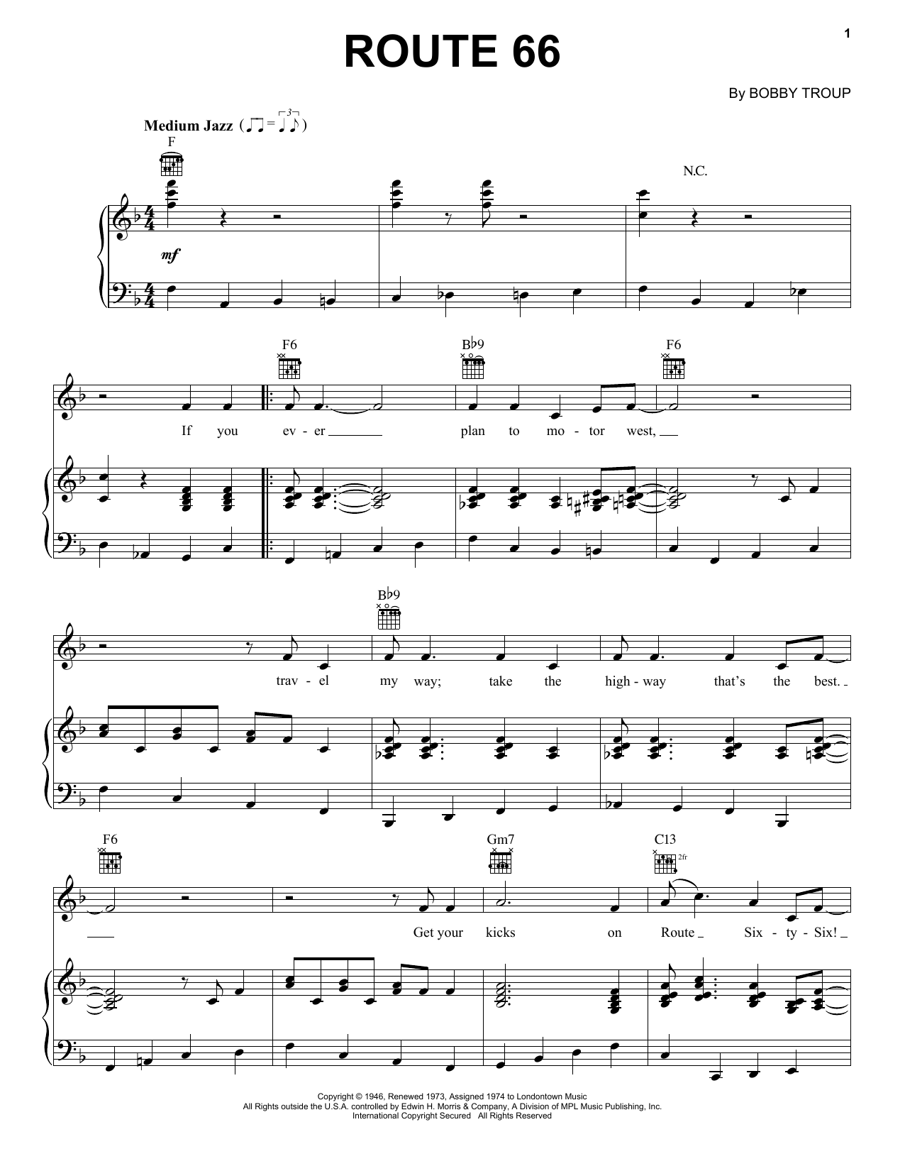 Download Bobby Troup Route 66 sheet music and printable PDF score & Jazz music notes