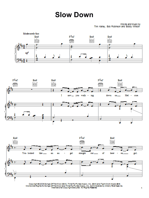 Download Bobby Valentino Slow Down sheet music and printable PDF score & Pop music notes
