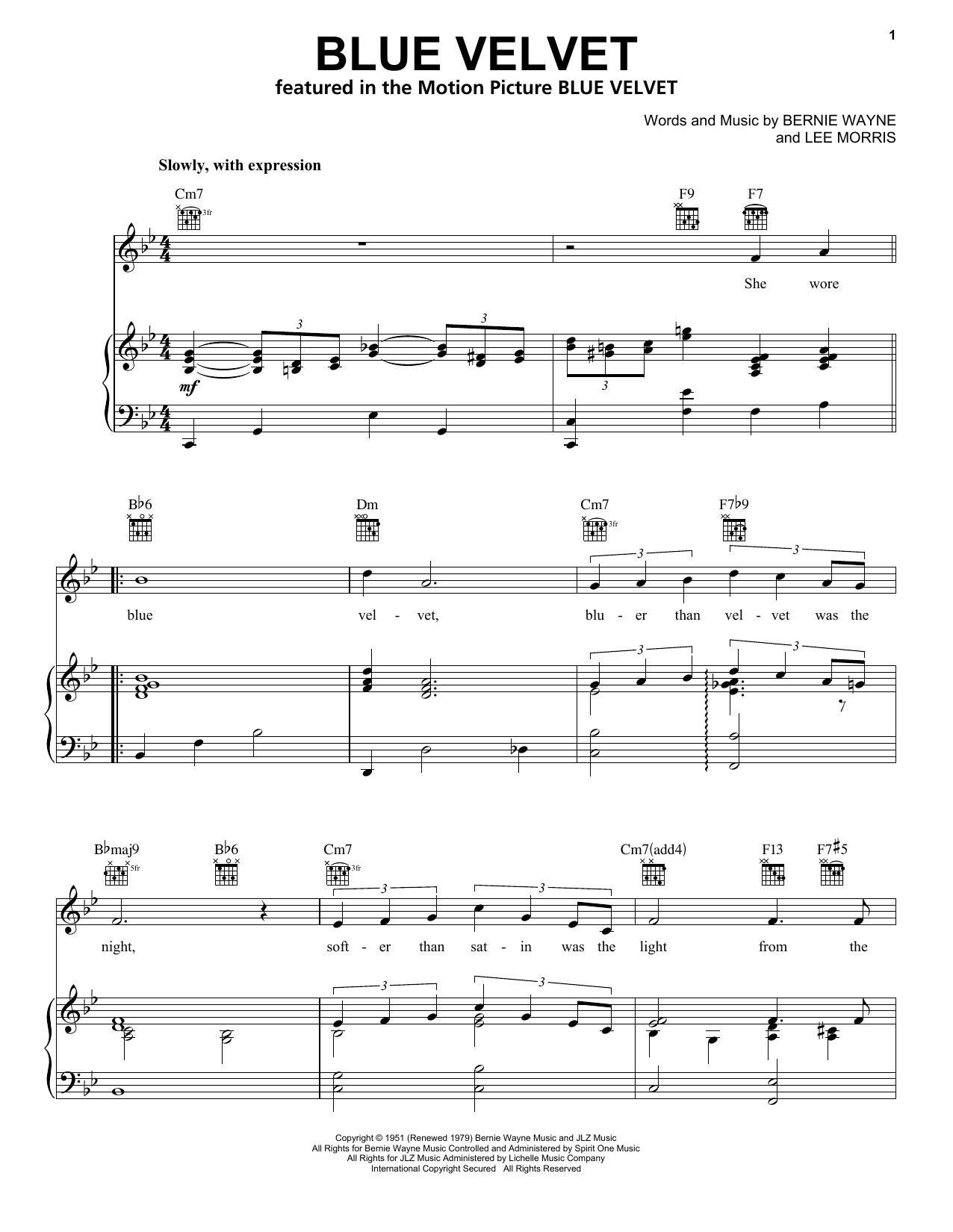 Download Bobby Vinton Blue Velvet sheet music and printable PDF score & Pop music notes