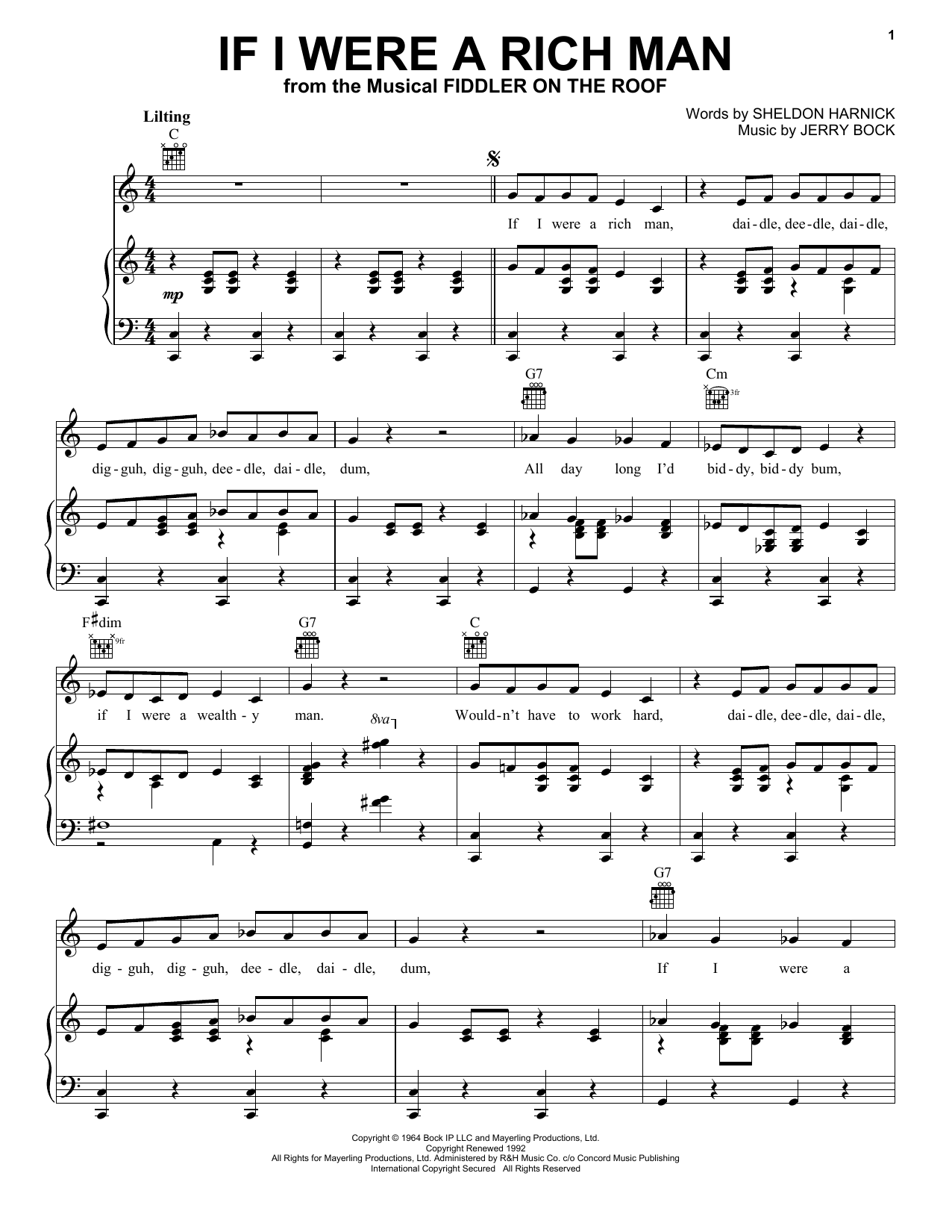 Download Bock & Harnick If I Were A Rich Man (from Fiddler On The Roof) sheet music and printable PDF score & Musicals music notes