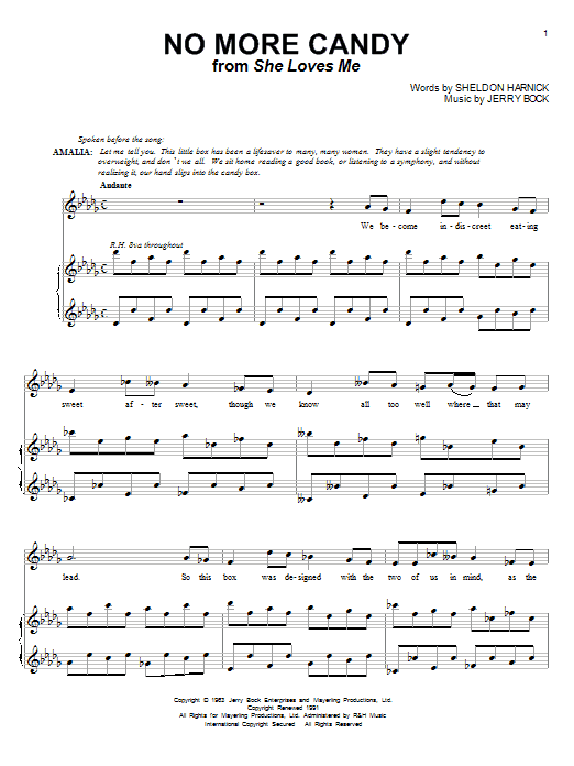 Download Bock & Harnick No More Candy sheet music and printable PDF score & Unclassified music notes