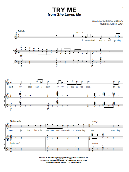 Download Bock & Harnick Try Me sheet music and printable PDF score & Unclassified music notes