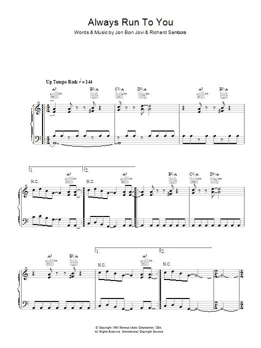 Download Bon Jovi Always Run To You sheet music and printable PDF score & Rock music notes