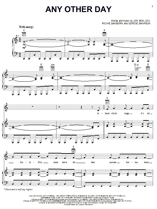 Download Bon Jovi Any Other Day sheet music and printable PDF score & Rock music notes
