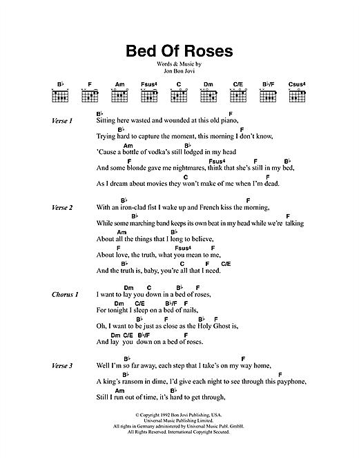Download Bon Jovi Bed Of Roses sheet music and printable PDF score & Rock music notes