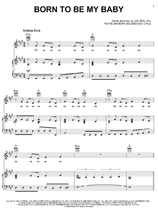 Download Bon Jovi Born To Be My Baby sheet music and printable PDF score & Rock music notes