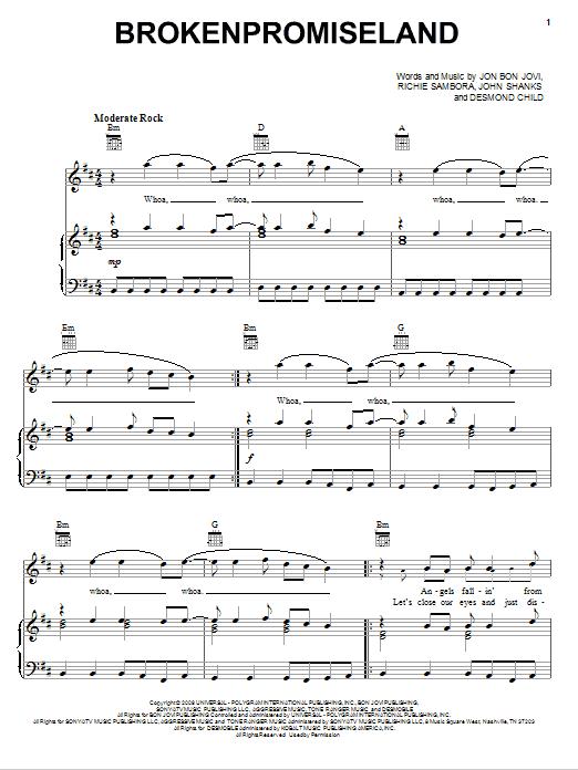 Download Bon Jovi Brokenpromiseland sheet music and printable PDF score & Rock music notes
