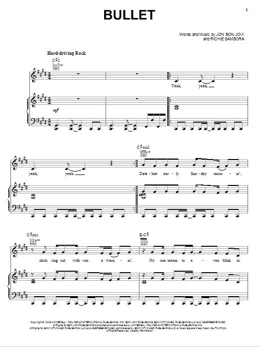 Download Bon Jovi Bullet sheet music and printable PDF score & Rock music notes