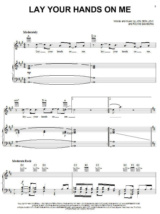 Download Bon Jovi Lay Your Hands On Me sheet music and printable PDF score & Rock music notes