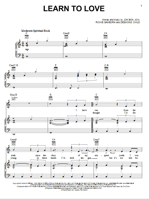 Download Bon Jovi Learn To Love sheet music and printable PDF score & Rock music notes