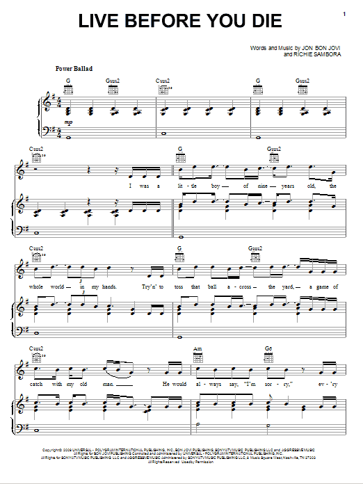 Download Bon Jovi Live Before You Die sheet music and printable PDF score & Rock music notes
