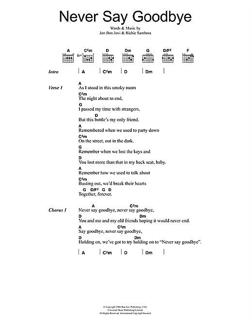 Download Bon Jovi Never Say Goodbye sheet music and printable PDF score & Rock music notes