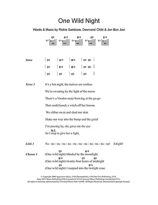 Download Bon Jovi One Wild Night sheet music and printable PDF score & Rock music notes