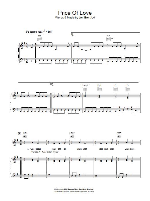 Download Bon Jovi Price Of Love sheet music and printable PDF score & Rock music notes