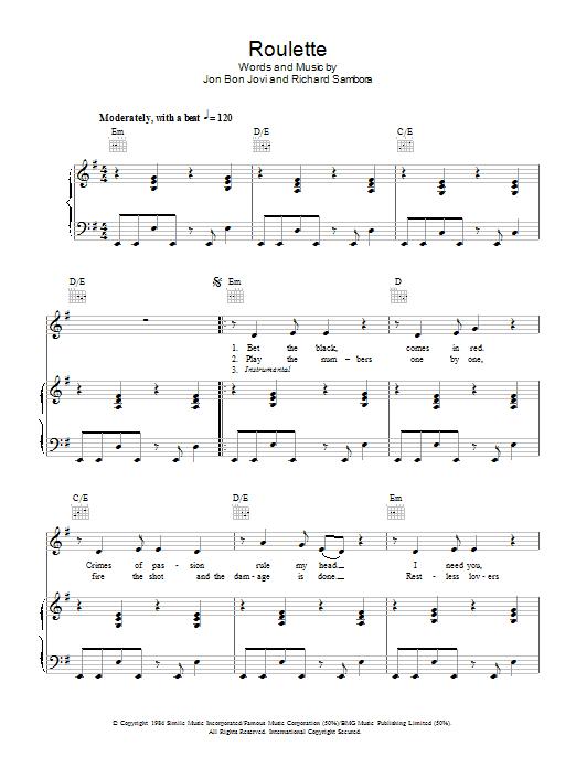 Download Bon Jovi Roulette sheet music and printable PDF score & Rock music notes