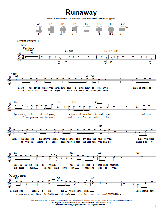 Download Bon Jovi Runaway sheet music and printable PDF score & Pop music notes