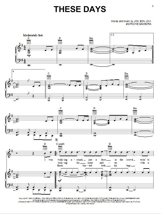 Download Bon Jovi These Days sheet music and printable PDF score & Rock music notes