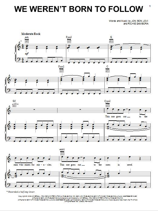 Download Bon Jovi We Weren't Born To Follow sheet music and printable PDF score & Rock music notes