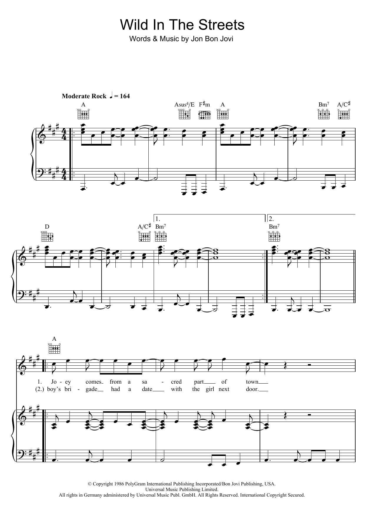 Download Bon Jovi Wild In The Streets sheet music and printable PDF score & Rock music notes