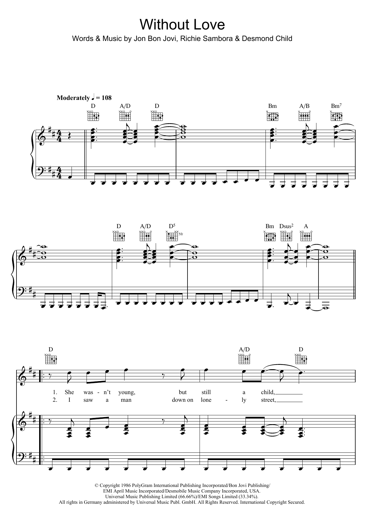 Download Bon Jovi Without Love sheet music and printable PDF score & Rock music notes