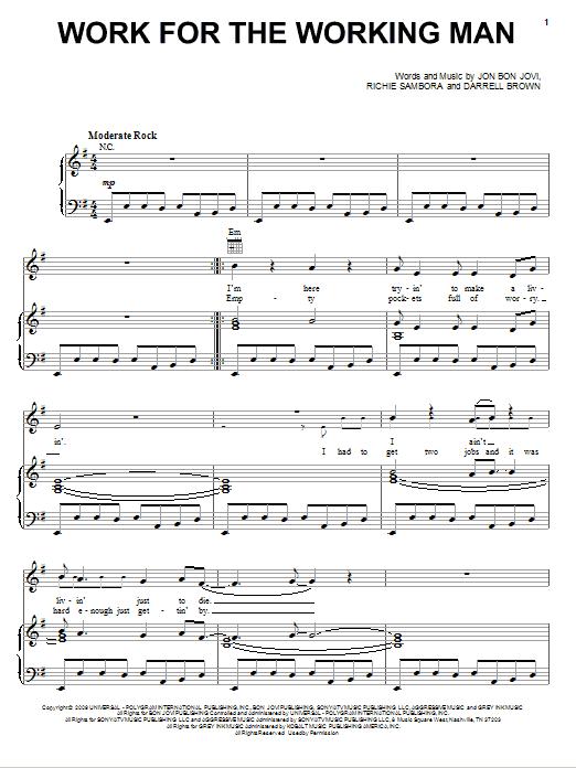 Download Bon Jovi Work For The Working Man sheet music and printable PDF score & Rock music notes