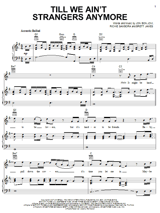 Download Bon Jovi Till We Ain't Strangers Anymore (feat. LeAnn Rimes) sheet music and printable PDF score & Pop music notes
