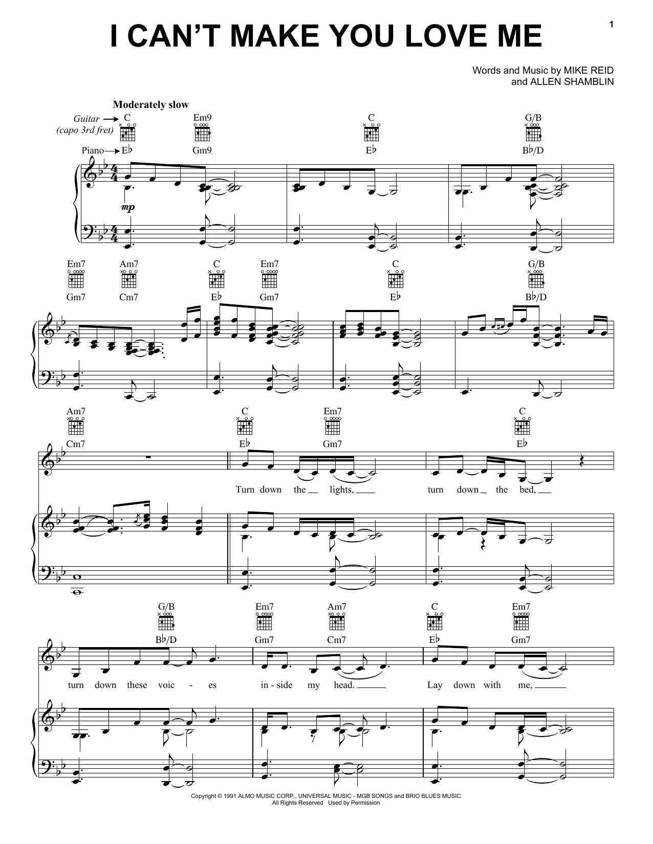 Download Bonnie Raitt I Can't Make You Love Me sheet music and printable PDF score & Pop music notes
