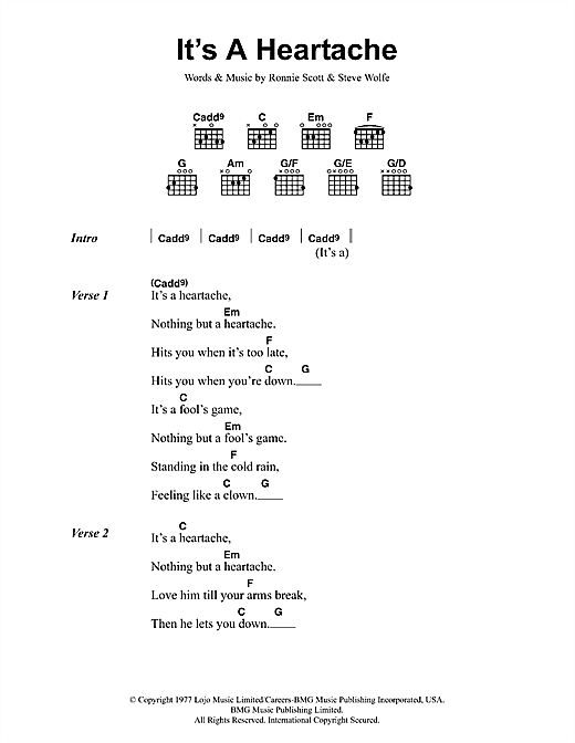 Download Bonnie Tyler It's A Heartache sheet music and printable PDF score & Rock music notes
