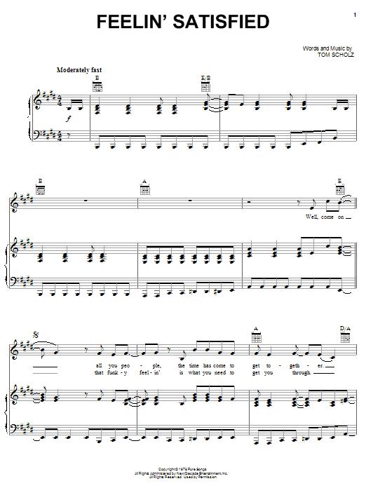 Download Boston Feelin' Satisfied sheet music and printable PDF score & Rock music notes