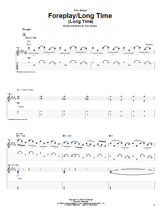 Download Boston Foreplay/Long Time (Long Time) sheet music and printable PDF score & Rock music notes