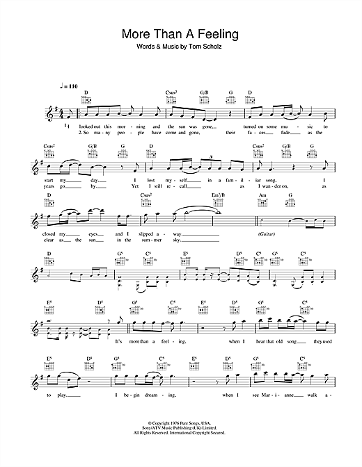 Download Boston More Than A Feeling sheet music and printable PDF score & Pop music notes