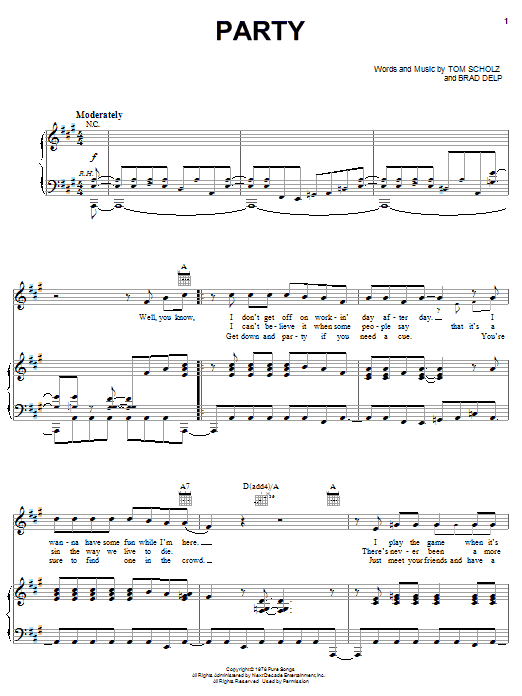 Download Boston Party sheet music and printable PDF score & Rock music notes