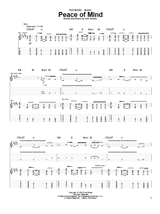 Download Boston Peace Of Mind sheet music and printable PDF score & Rock music notes