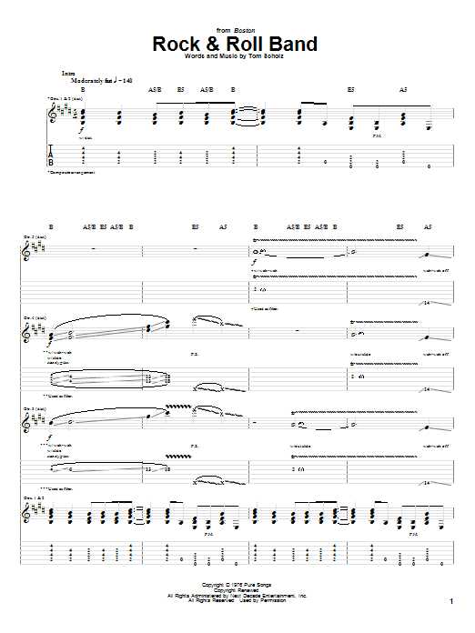 Download Boston Rock & Roll Band sheet music and printable PDF score & Rock music notes