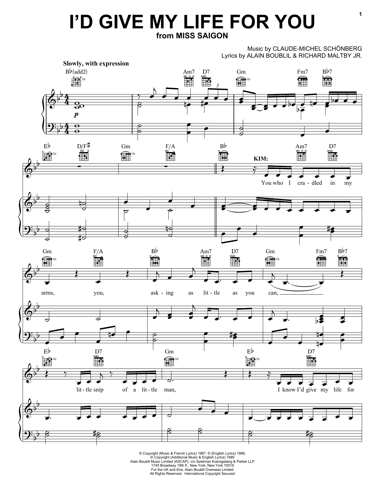 Download Boublil and Schonberg I'd Give My Life For You (from Miss Saigon) sheet music and printable PDF score & Broadway music notes