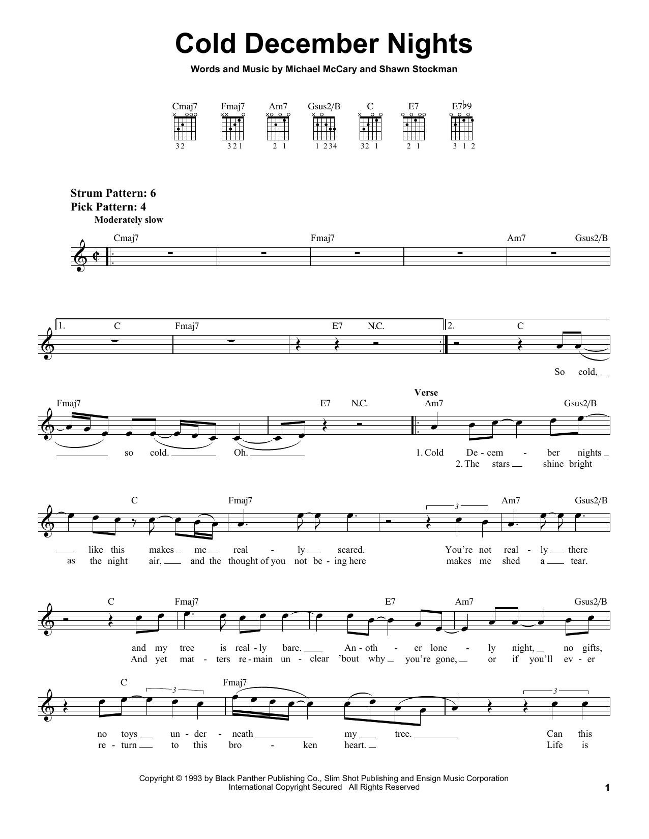 Download Boyz II Men Cold December Nights sheet music and printable PDF score & Pop music notes
