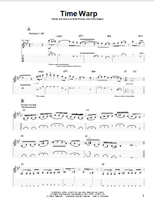 Download Brad Paisley Time Warp sheet music and printable PDF score & Pop music notes