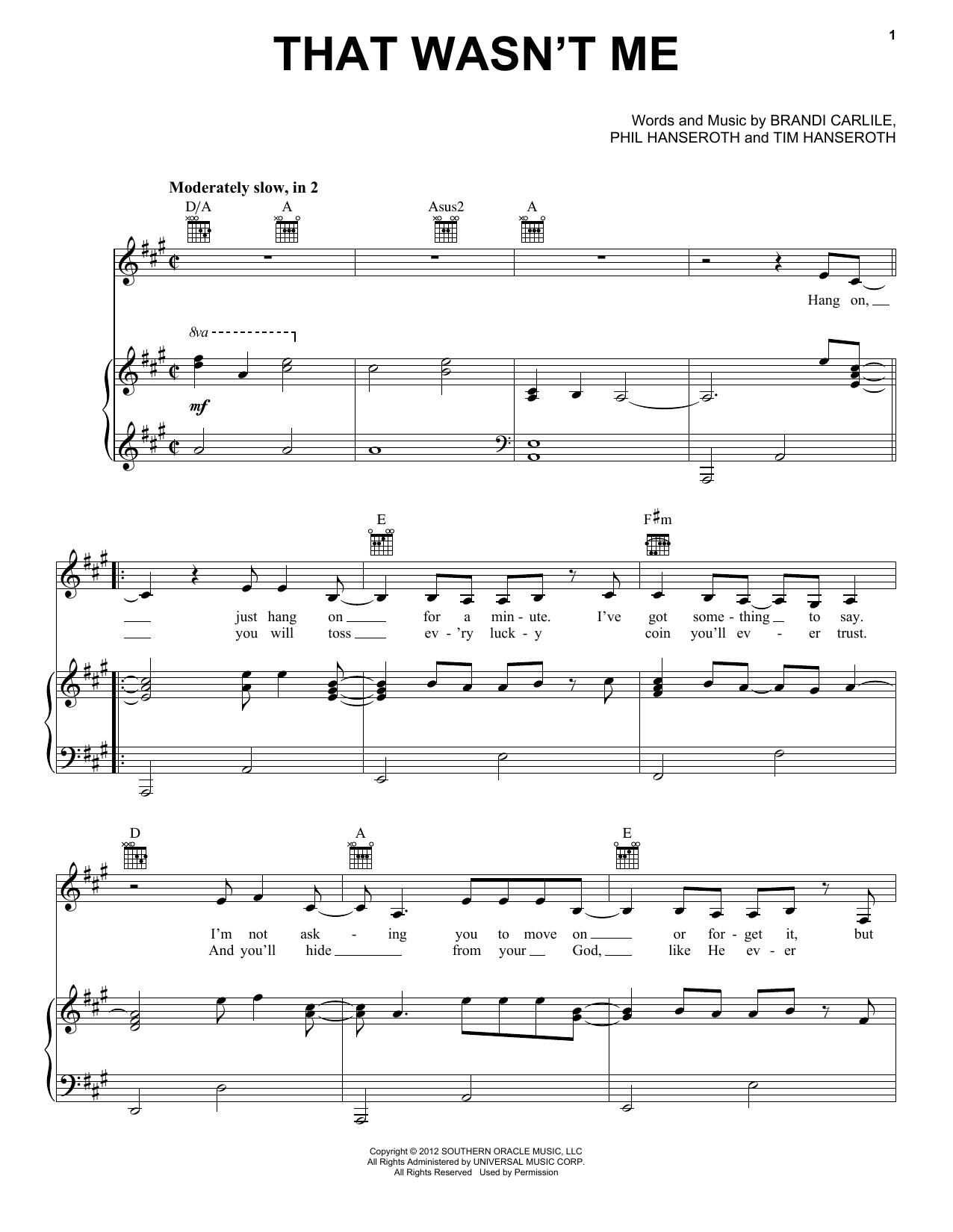 Download Brandi Carlile That Wasn't Me sheet music and printable PDF score & Pop music notes