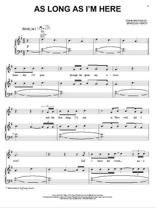 Download Brandon Heath As Long As I'm Here sheet music and printable PDF score & Pop music notes