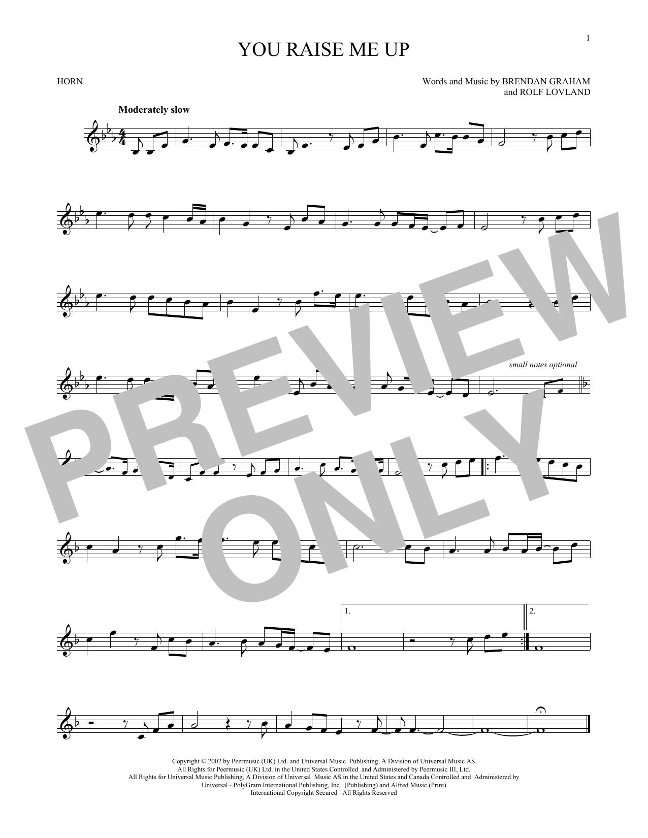 Brendan Graham 'You Raise Me Up' Sheet Music Notes, Chords | Download  Printable Trombone - SKU: 169508