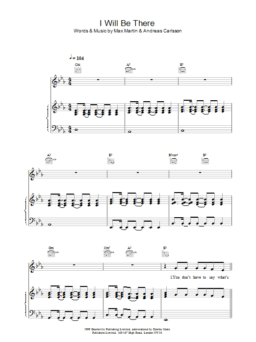 Download Britney Spears I Will Be There sheet music and printable PDF score & Pop music notes