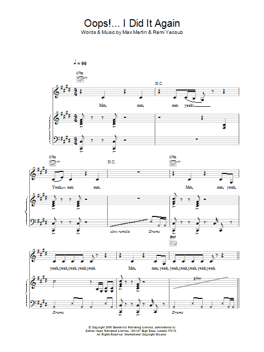 Download Britney Spears Oops! I Did It Again sheet music and printable PDF score & Pop music notes