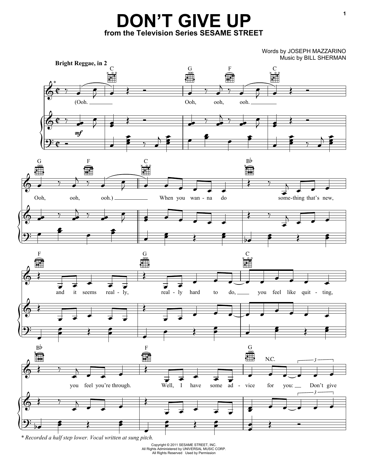 Download Bruno Mars Don't Give Up (from Sesame Street) sheet music and printable PDF score & Children music notes
