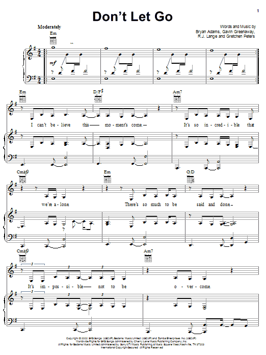 Download Bryan Adams Don't Let Go sheet music and printable PDF score & Children music notes